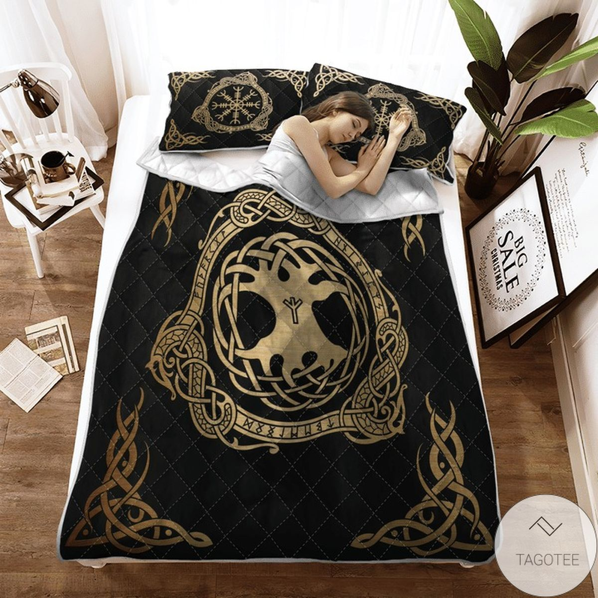 Mother's Day Gift Tree Yggdrasil And Vegvisir Viking Quilt Bedding Set
