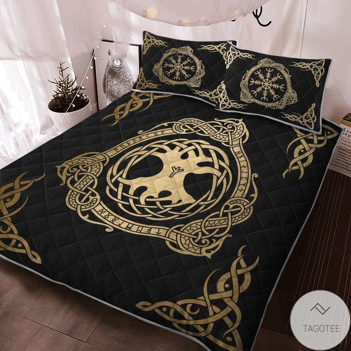 Absolutely Love Tree Yggdrasil And Vegvisir Viking Quilt Bedding Set