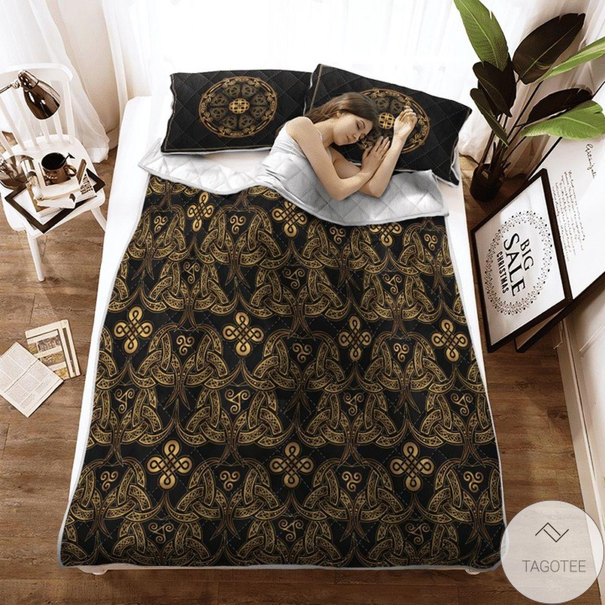 Triple Horn Of Odin Viking Quilt Bedding Set x