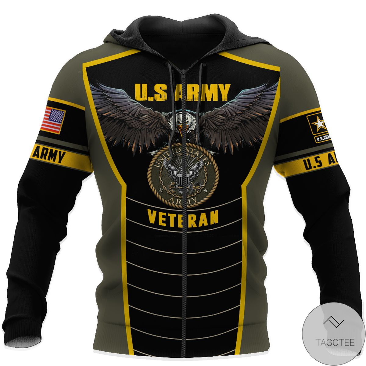 Free U.s Army Veteran Eagle Pride 3D All Over Print Hoodie