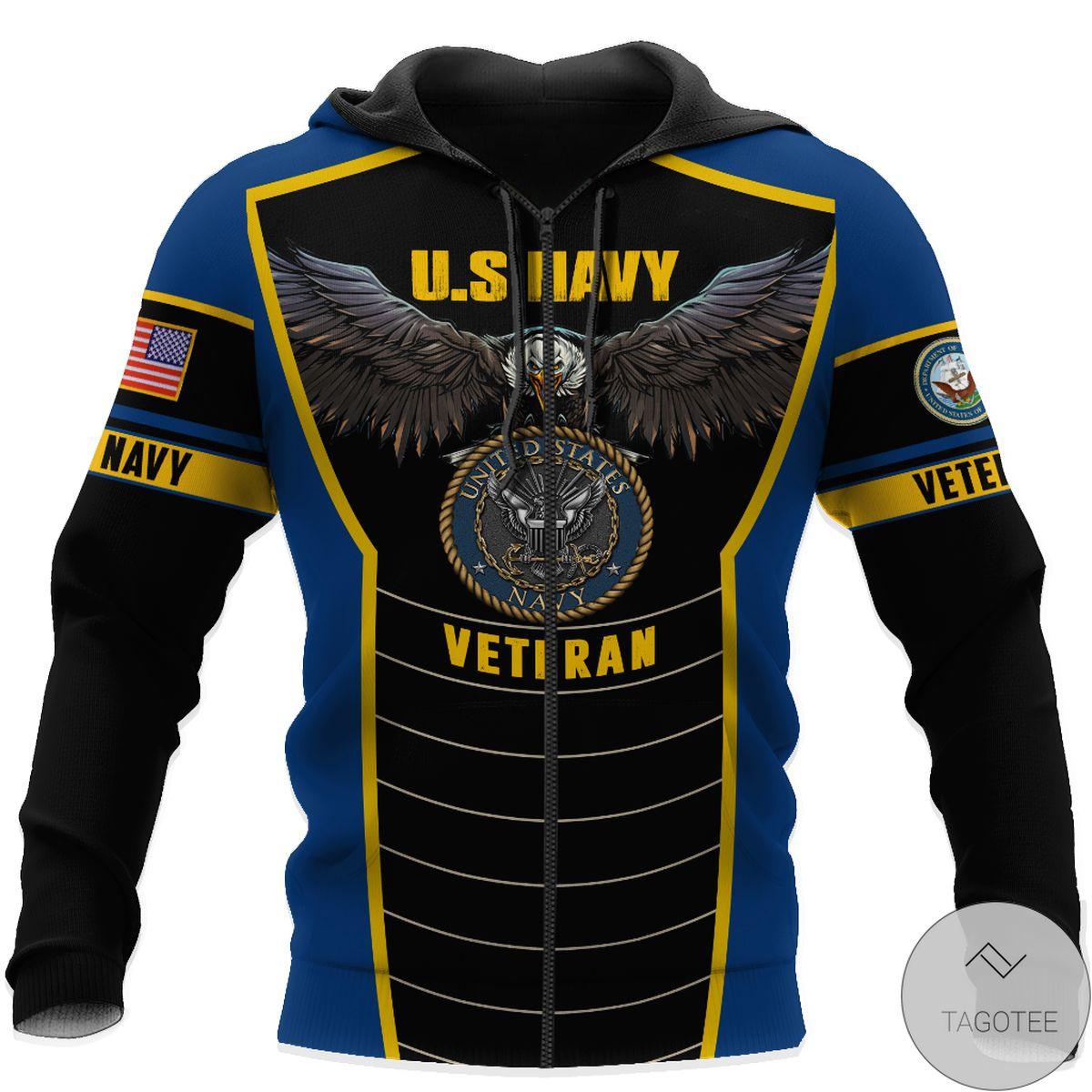 Adult U.s Navy Veteran Eagle Pride Design 3D All Over Print Hoodie