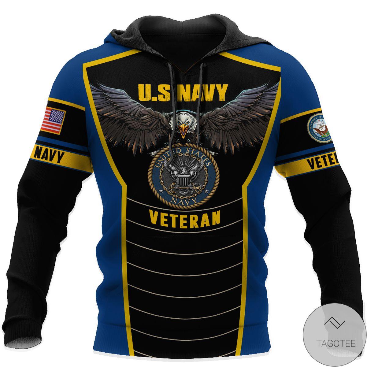 Hot Deal U.s Navy Veteran Eagle Pride Design 3D All Over Print Hoodie