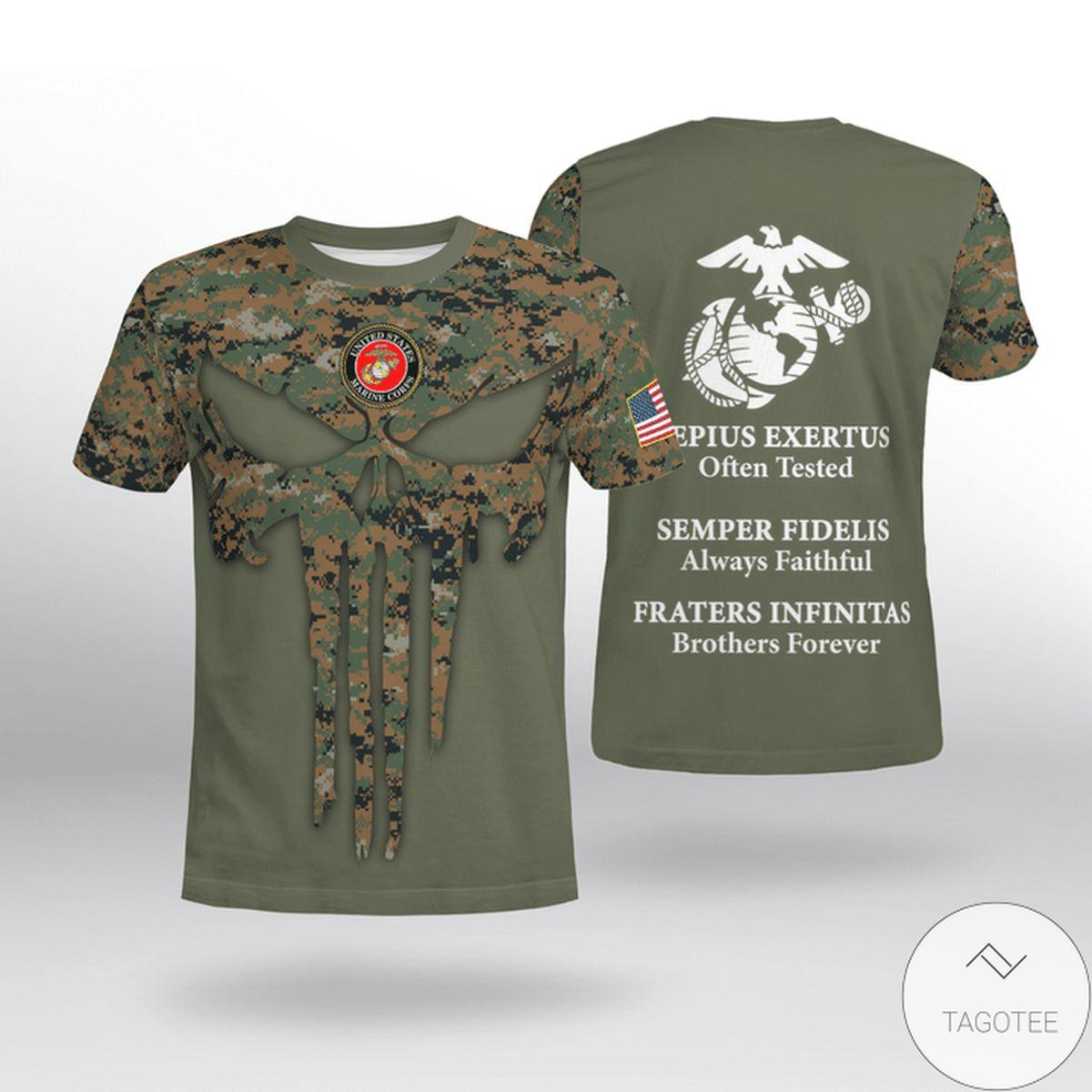 Clothing USMC  Saepius Exertus Often Tested Semper Fidelis Always Faithful Shirt