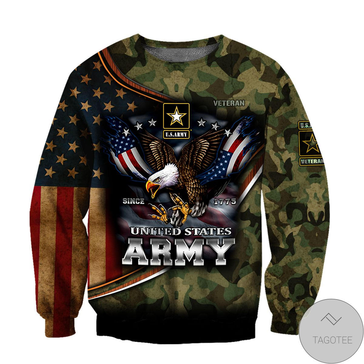 Us Army Hoodie Since 1775 Eagle With Army 3D All Over Print Hoodie x
