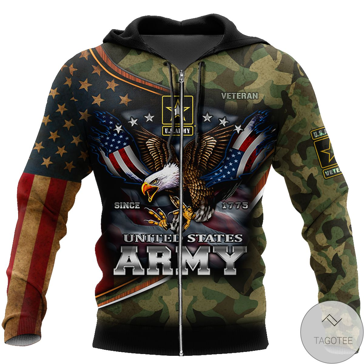 Us Army Hoodie Since 1775 Eagle With Army 3D All Over Print Hoodie z