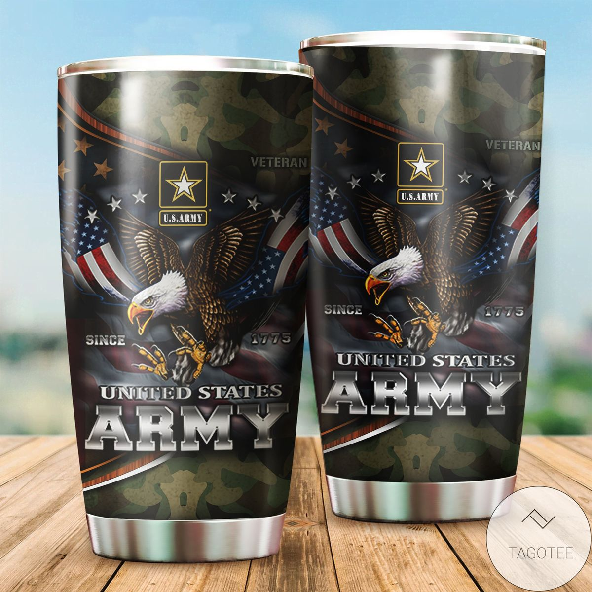 Us Army Since 1775 Eagle With American Flag Wings Tumbler