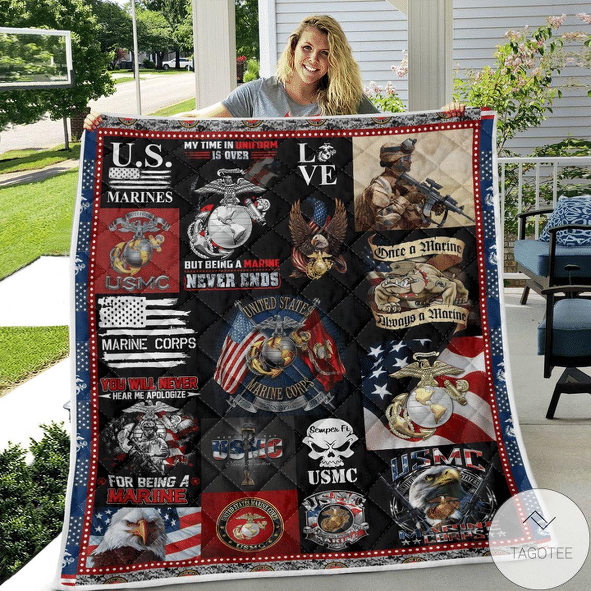 Excellent Us Marine Corp Quilt