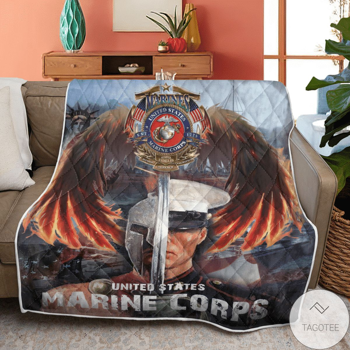 Absolutely Love Us Marine Corps Eagles Quilt
