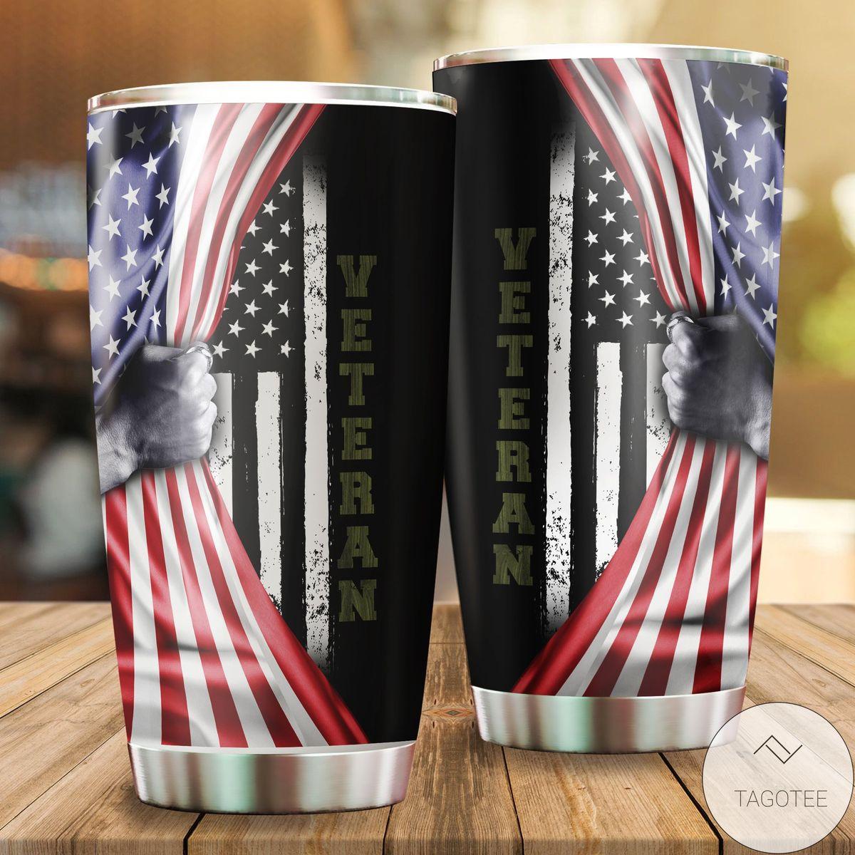 Esty Us Veteran American Flag Camo Tumbler