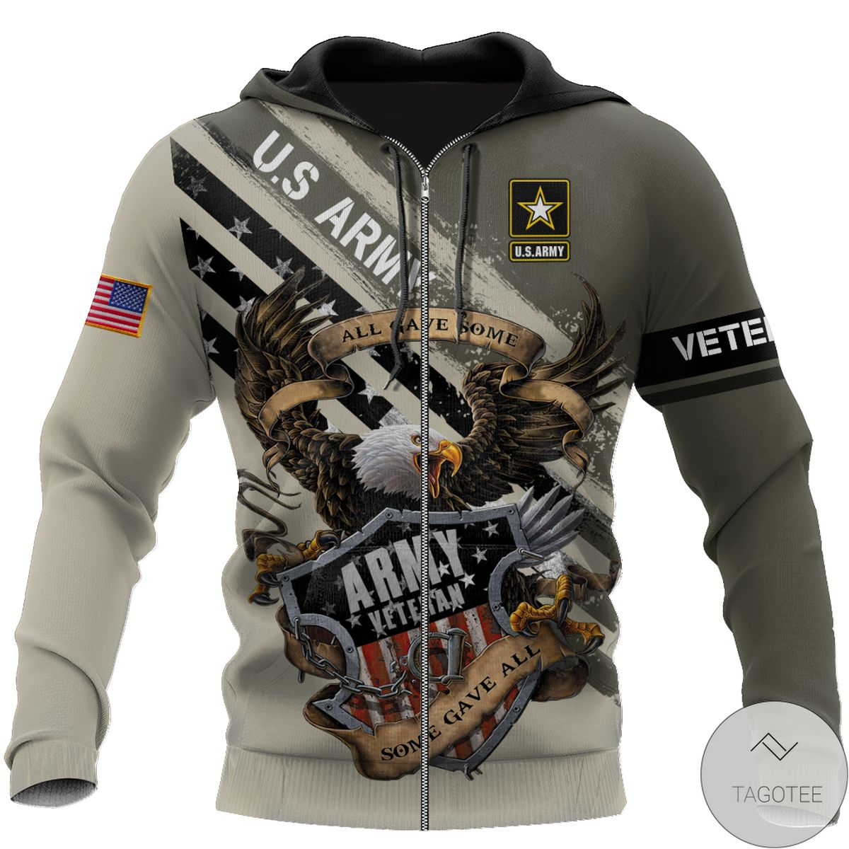 POD Us Veteran Army All Gave Some 3D All Over Print Hoodie