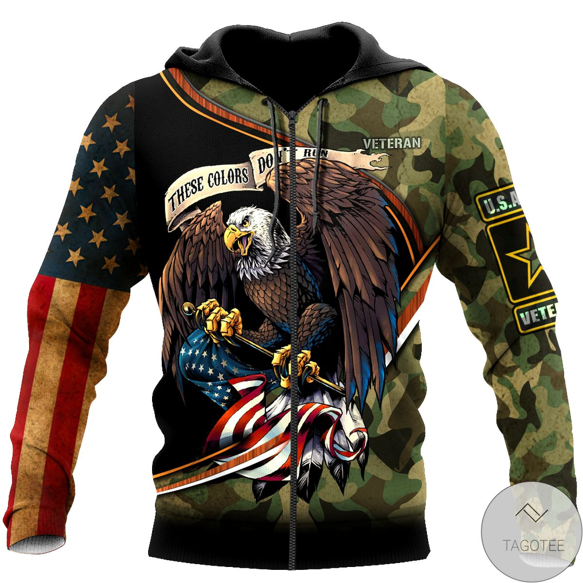 Beautiful Us Veteran Camo These Color Don't Run 3D All Over Print Hoodie