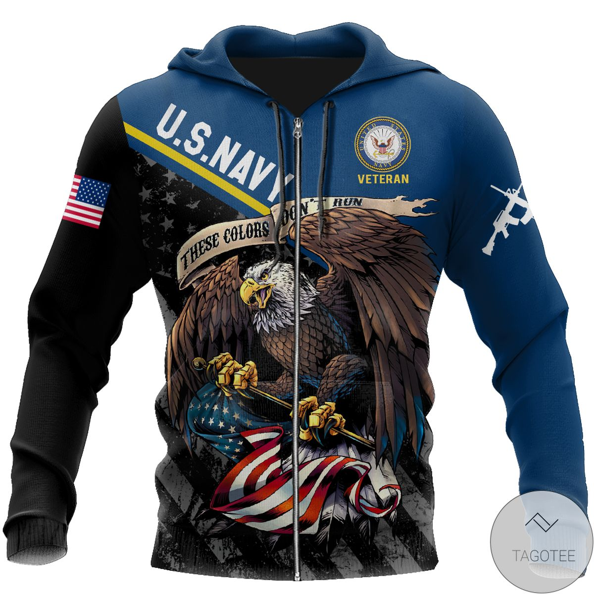 Us Veteran Navy These Color Don't Run 3D All Over Print Hoodie