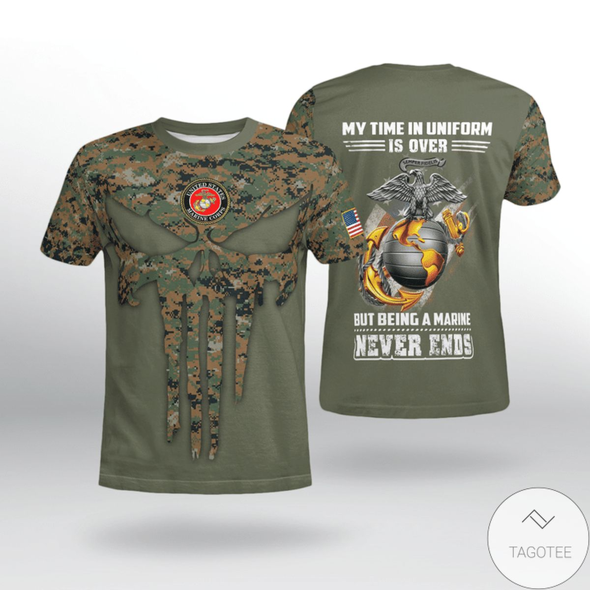 Usmc My Time In Uniform Is Over But Being A Marine Never End Shirt