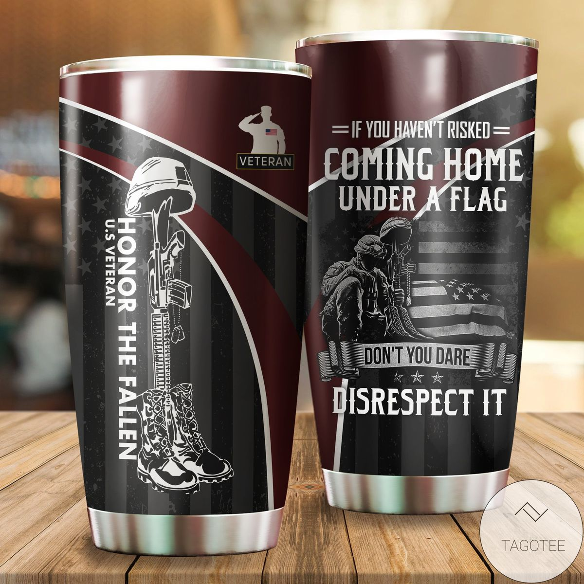 Buy In US Veteran Honor The Fallen Coming Home Under A Flag Soldier Tumbler