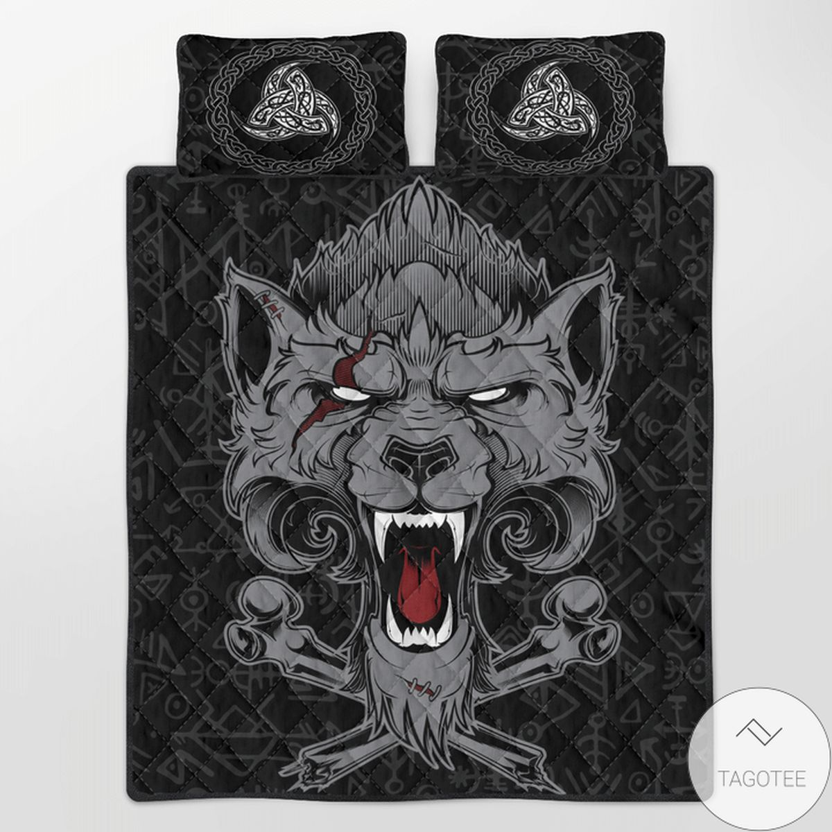 Great artwork! Viking Dead Wolf Fenrir Quilt Bedding Set