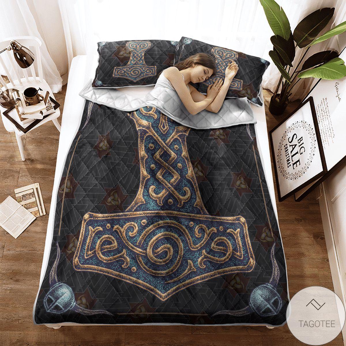 Popular Viking Hammer - Viking Quilt Bedding Set