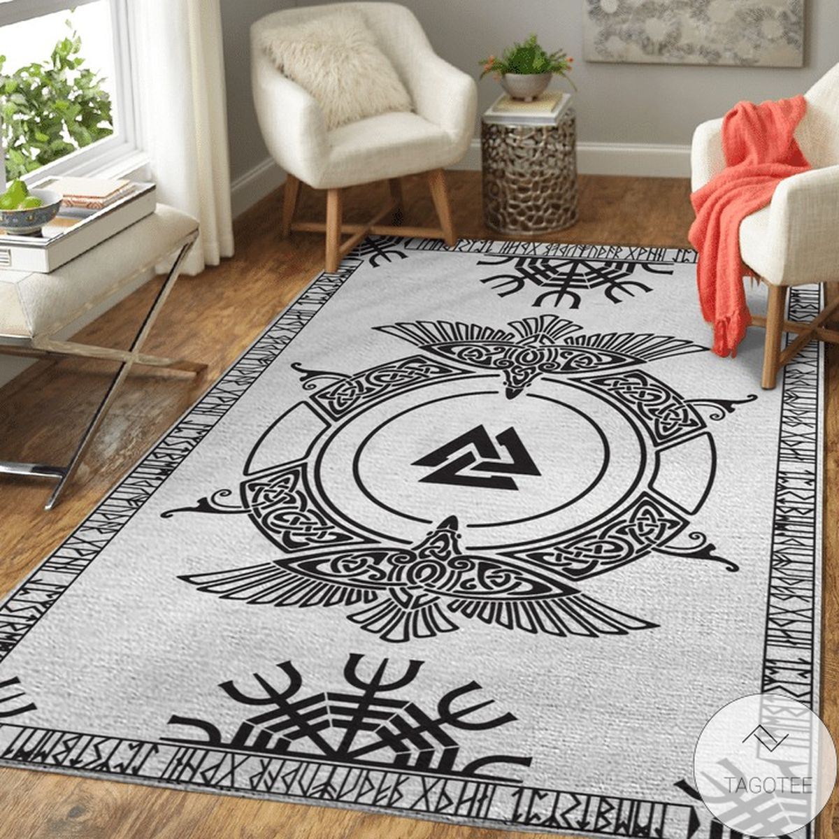 Official Viking Raven And Runic - Viking Area Rug