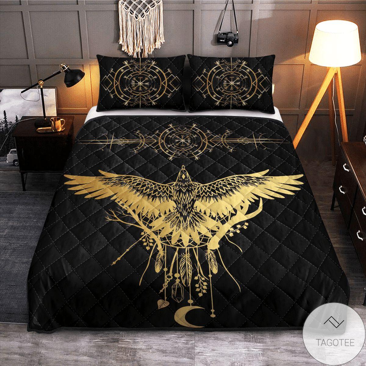 Viking Raven Quilt Bedding Set z