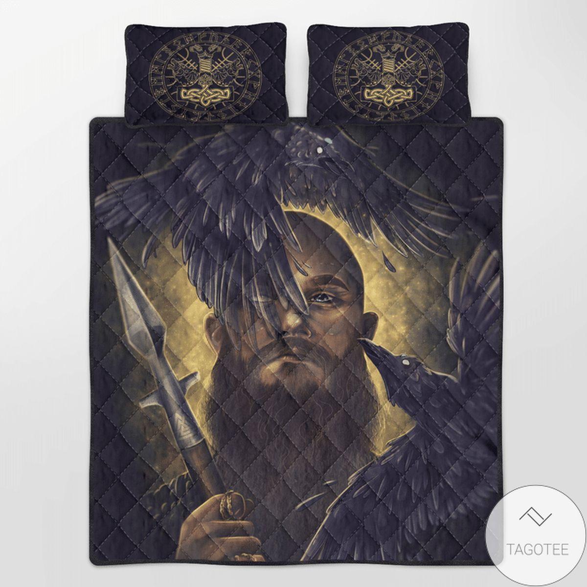 Viking Raven & Spear Quilt Bedding Set