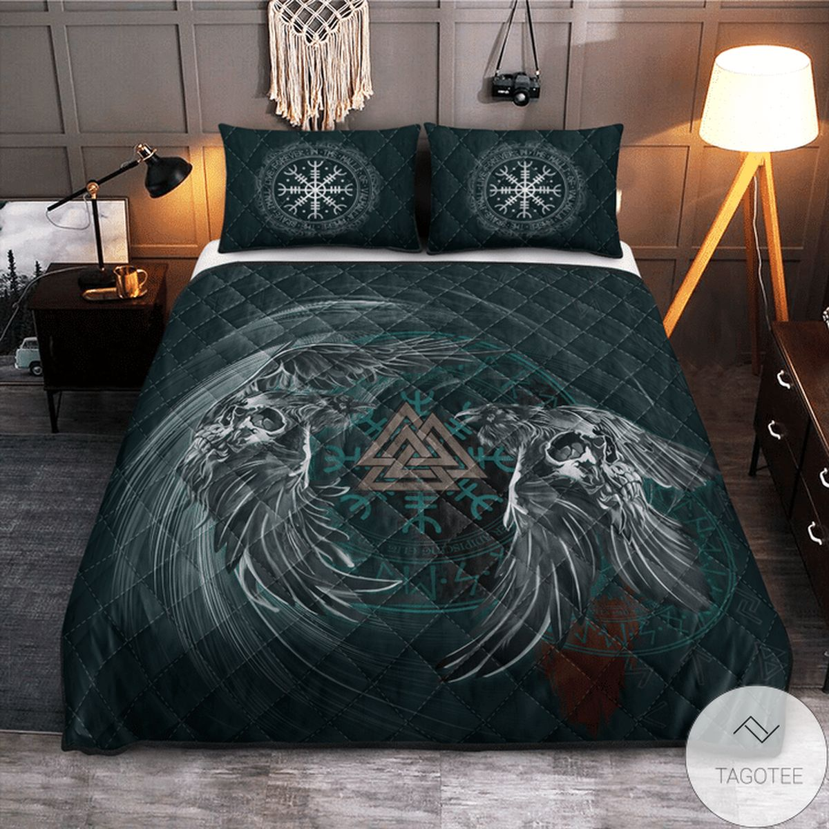 Vibrant Viking Raven & Valknut Quilt Bedding Set