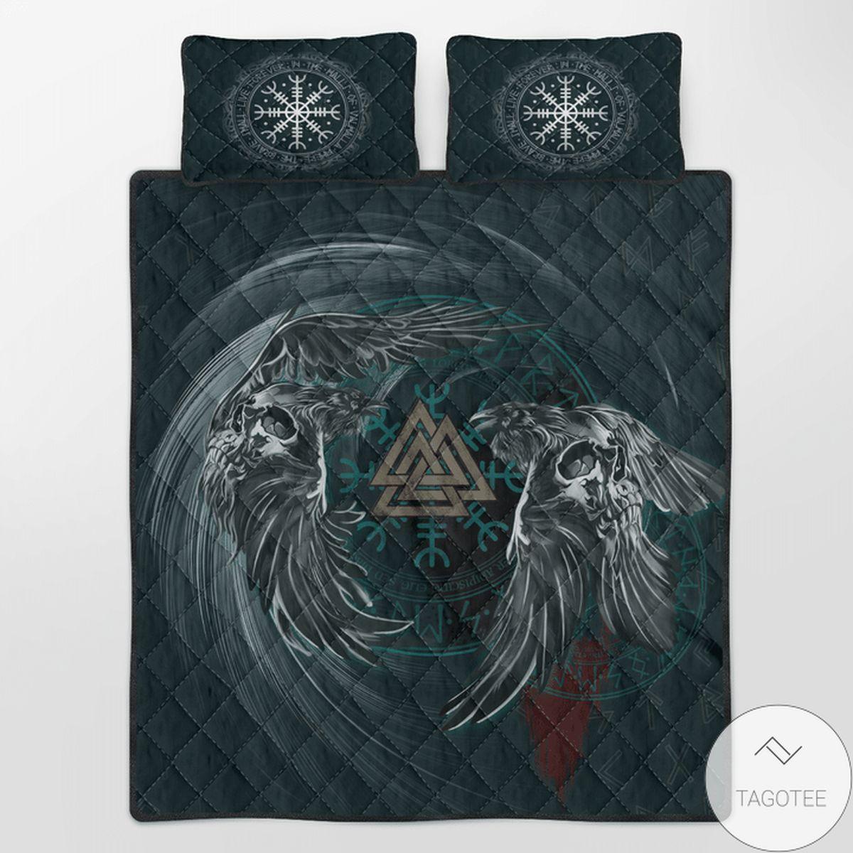 Viking Raven & Valknut Quilt Bedding Set