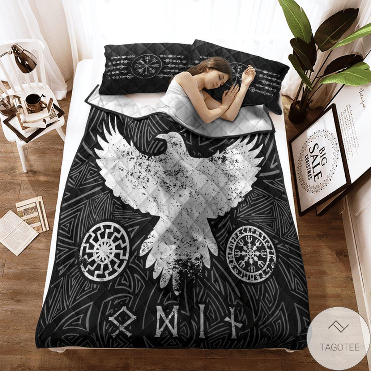 Only For Fan Viking Raven Vegvisir Quilt Bedding Set