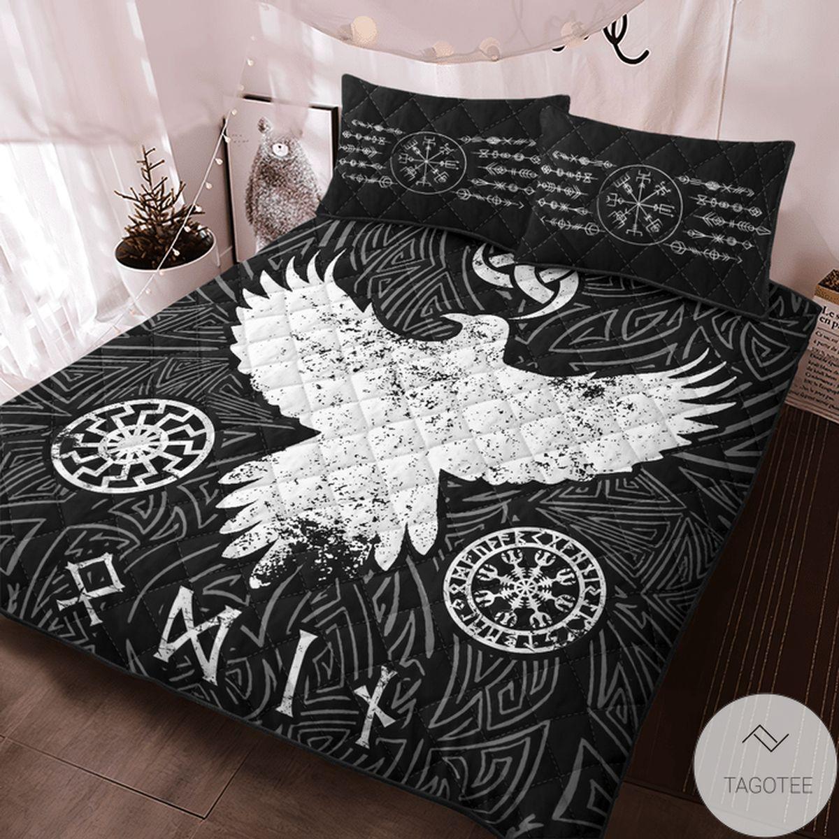 Amazing Viking Raven Vegvisir Quilt Bedding Set