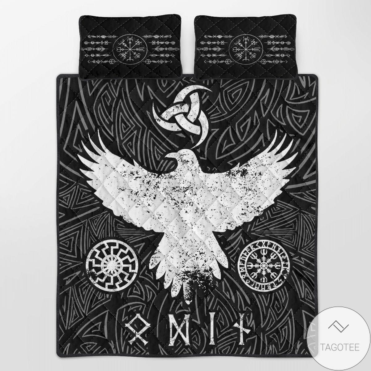 Top Viking Raven Vegvisir Quilt Bedding Set
