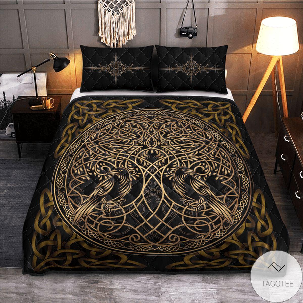 Best Viking Raven Yggdrasil Quilt Bedding Set