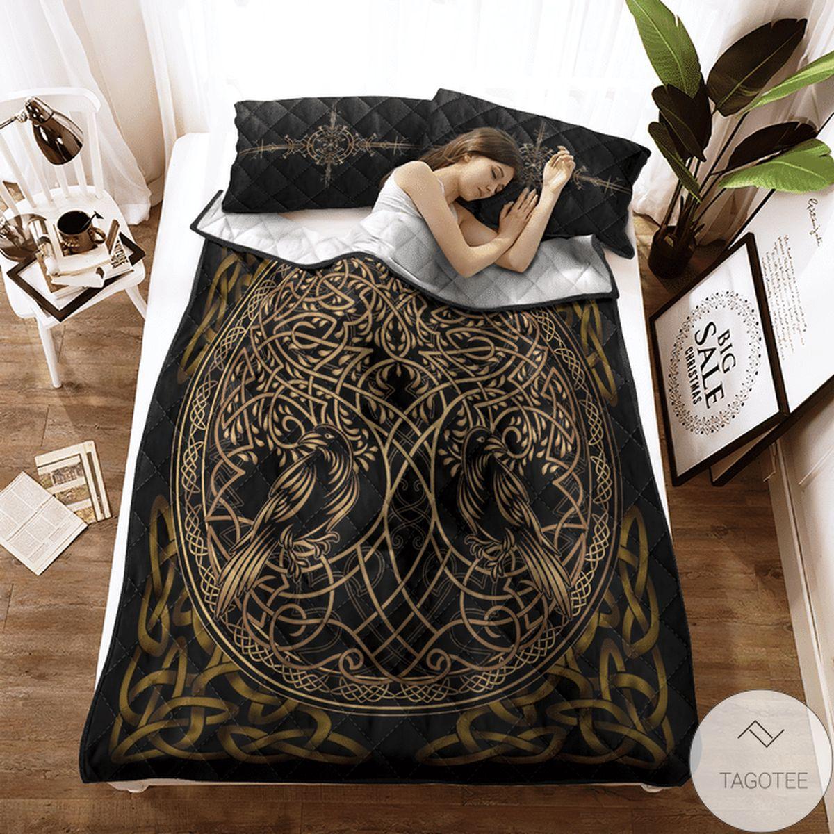 Great Quality Viking Raven Yggdrasil Quilt Bedding Set