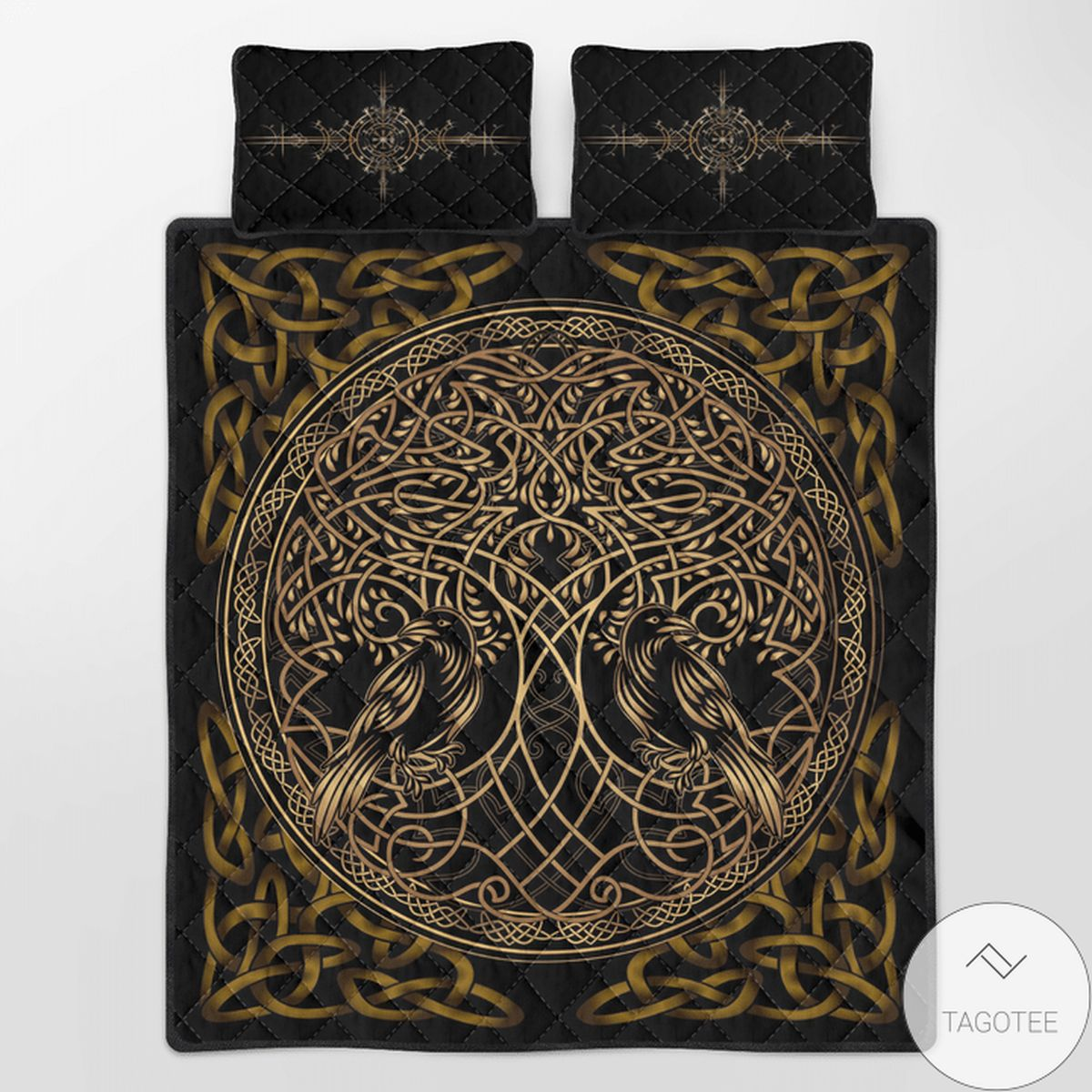 Drop Shipping Viking Raven Yggdrasil Quilt Bedding Set