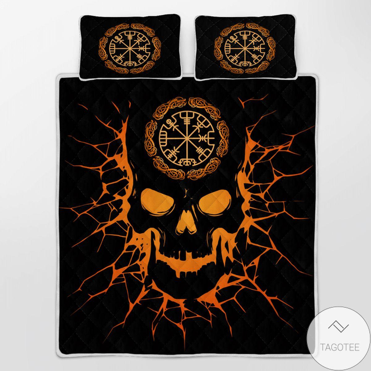 Only For Fan Viking Vegvisir Skull - Viking Quilt Bedding Set
