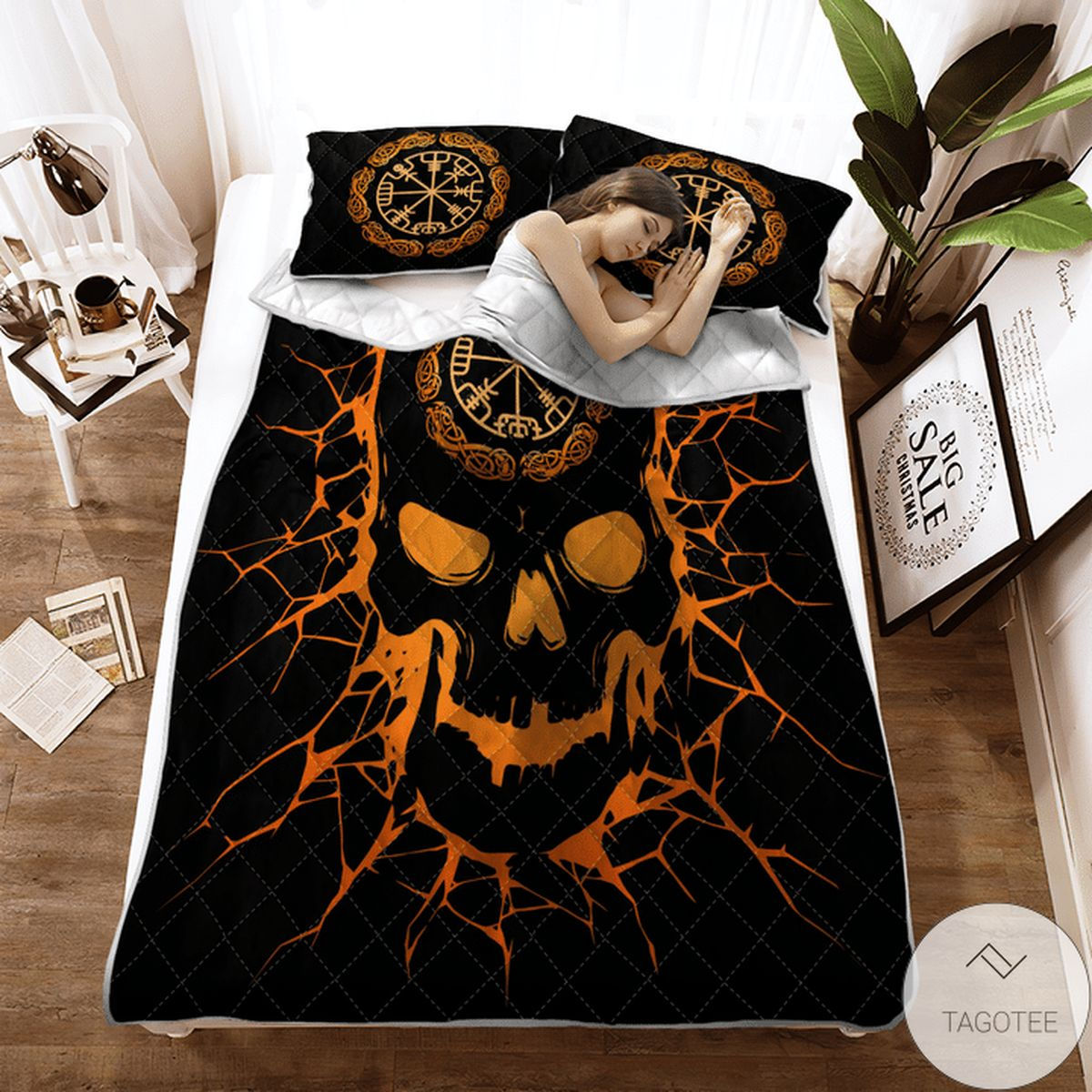 Hot Viking Vegvisir Skull - Viking Quilt Bedding Set