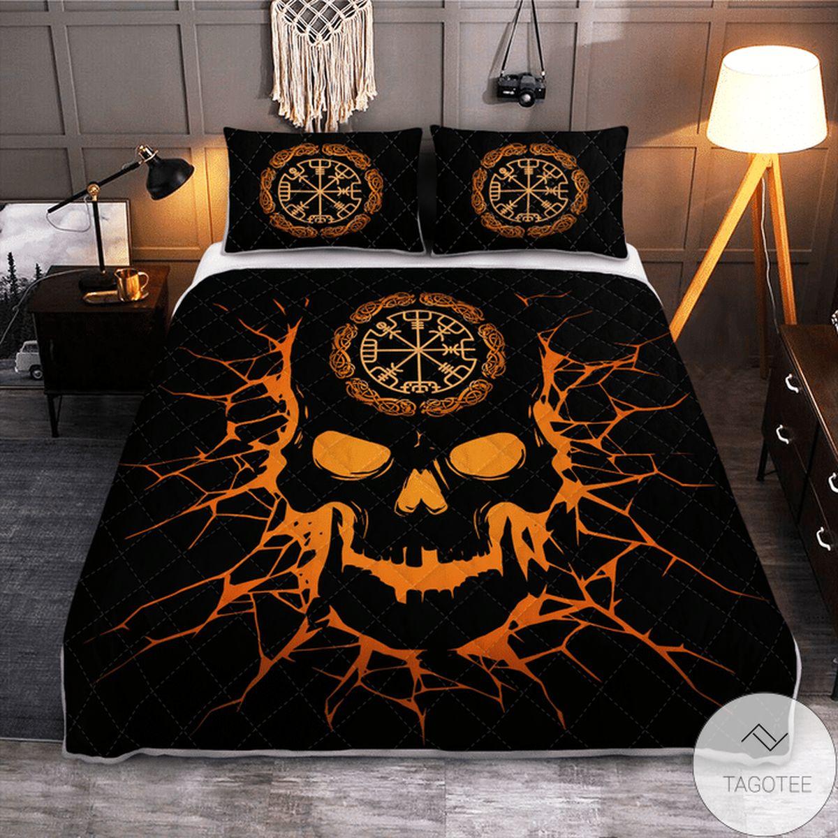 Real Viking Vegvisir Skull - Viking Quilt Bedding Set