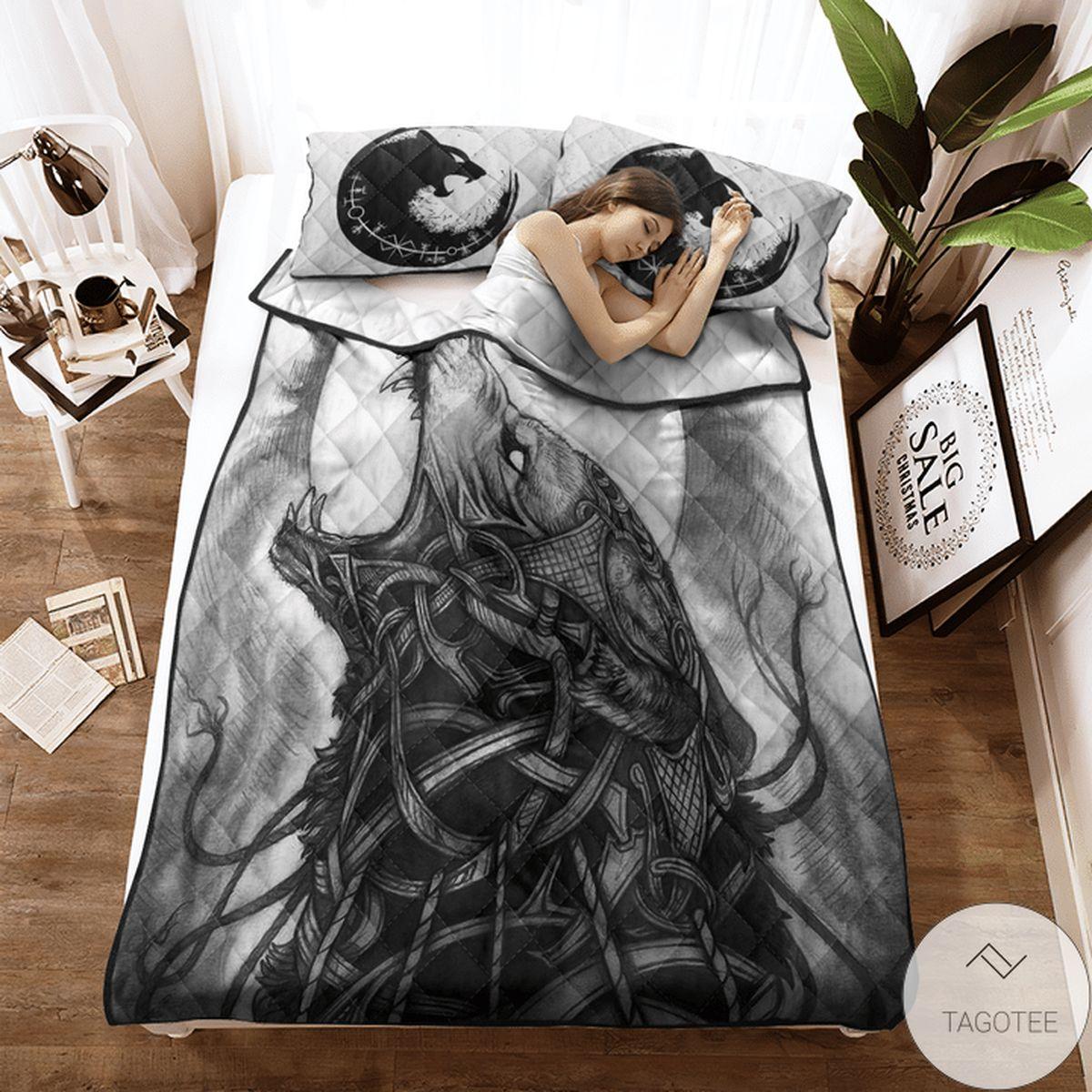 Print On Demand Viking Wolf Monster Fenrir Quilt Bedding Set