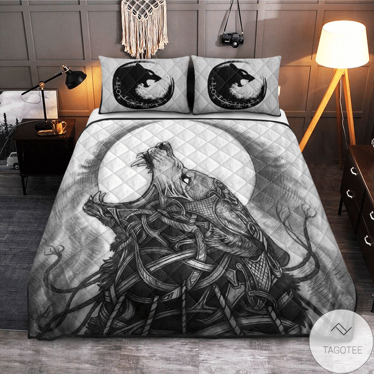 Viking Wolf Monster Fenrir Quilt Bedding Set z