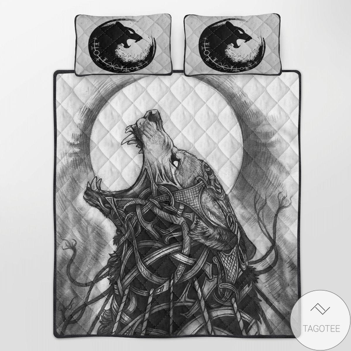 Viking Wolf Monster Fenrir Quilt Bedding Set