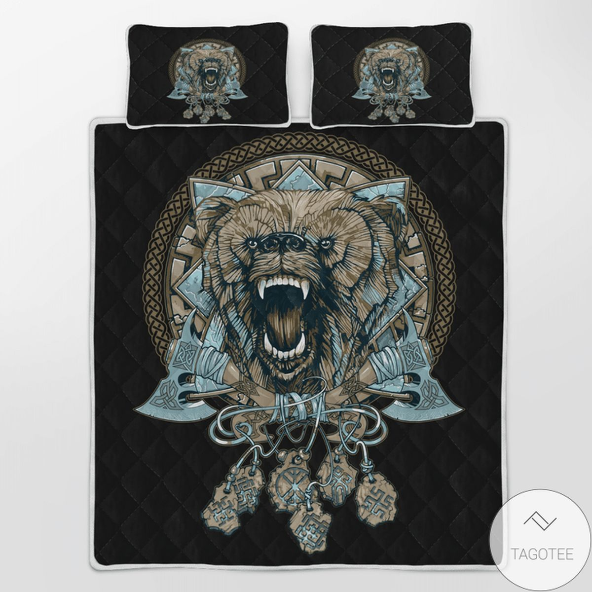 Viking Wolf With Axe - Viking Quilt Bedding Set z