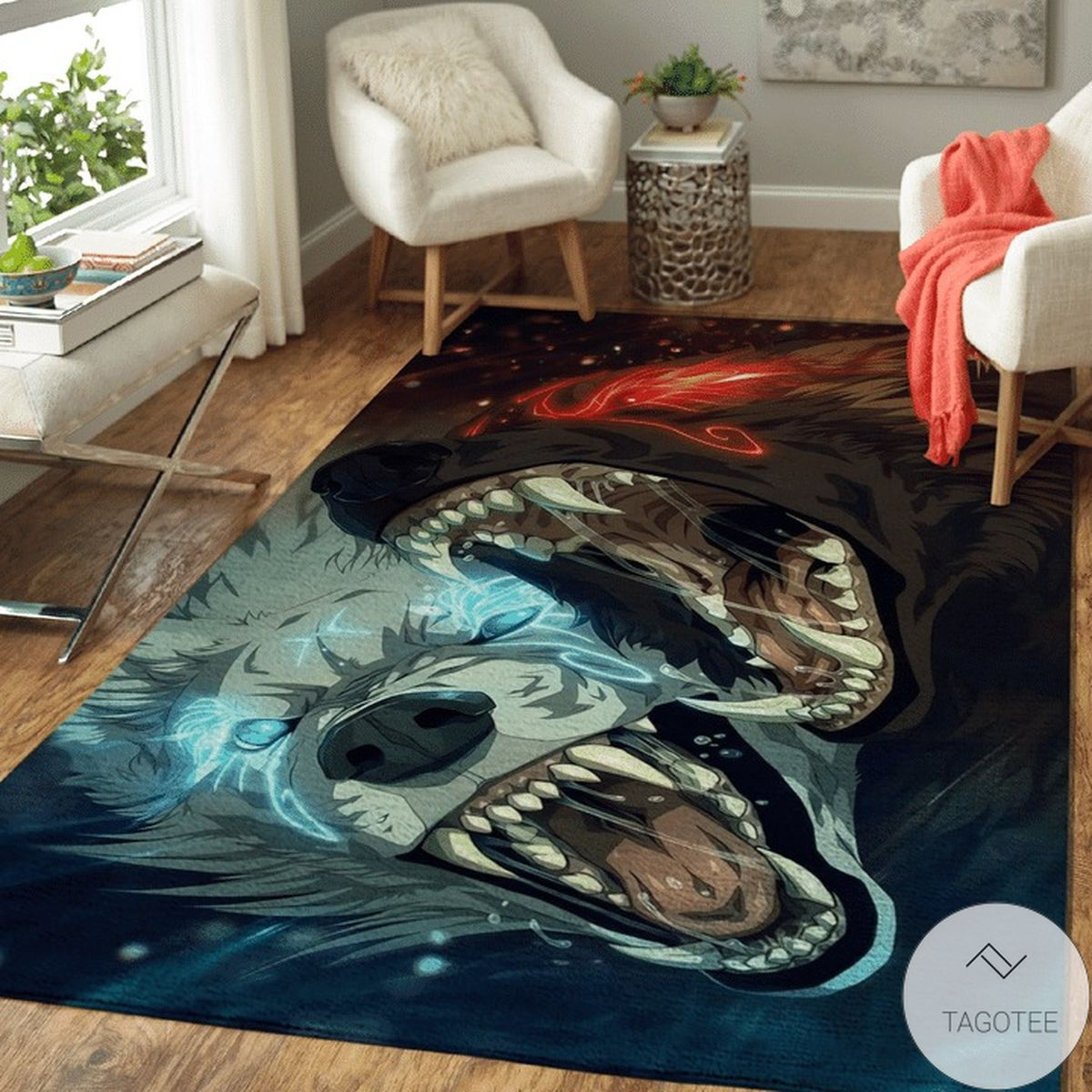 Water And Fire Wolf - Viking Area Rug
