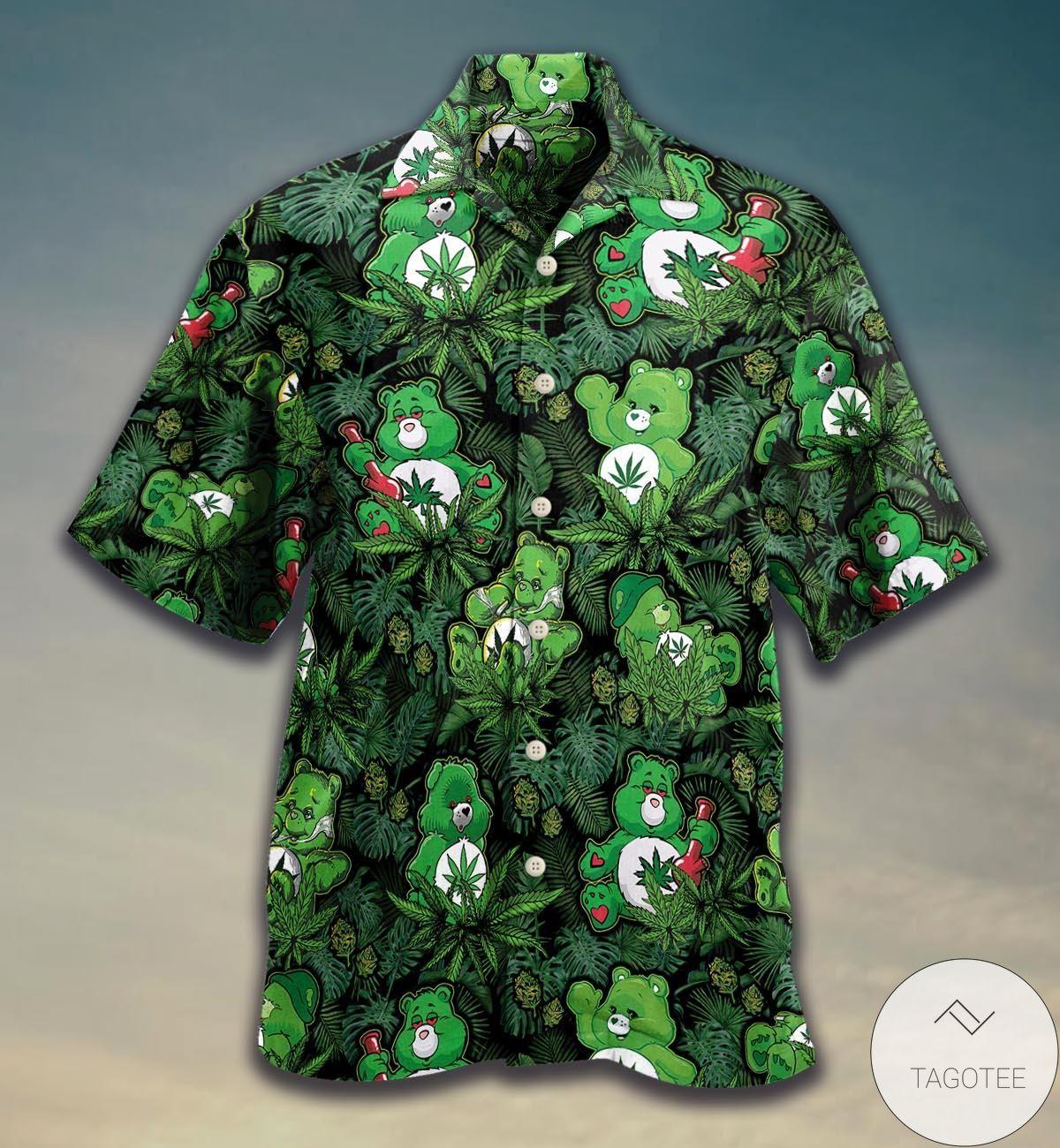 Funny Tee Weed Don't Care Bear Hawaiian Shirt
