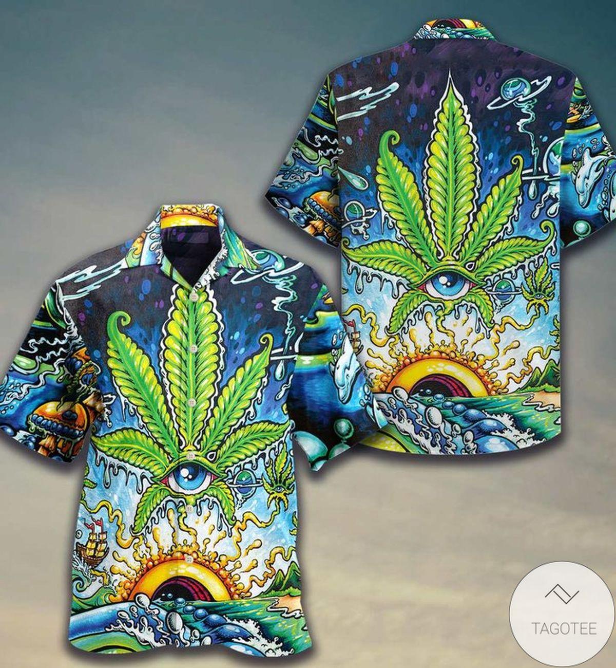 Funny Tee Weed Psychedelic Color Hawaiian Shirt