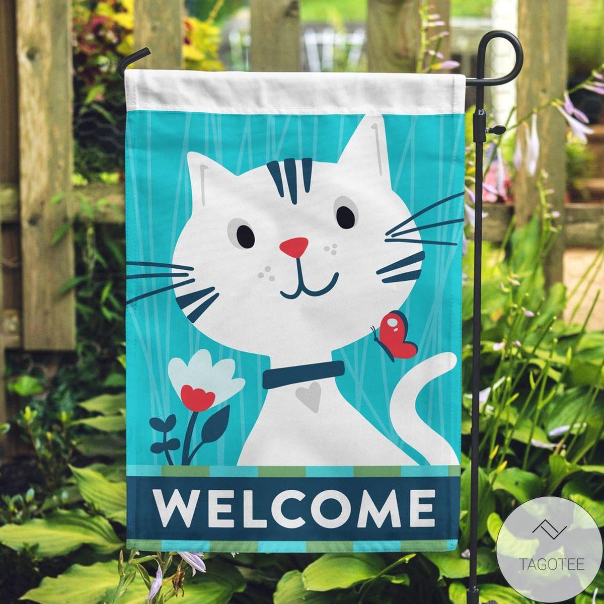 Gorgeous Welcome Kitty Garden Flag