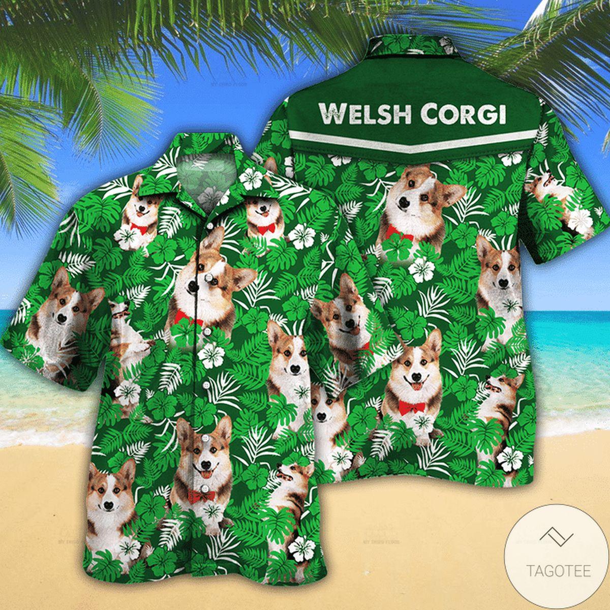Welsh Corgi Dog Lovers Green Floral Pattern Hawaiian Shirt