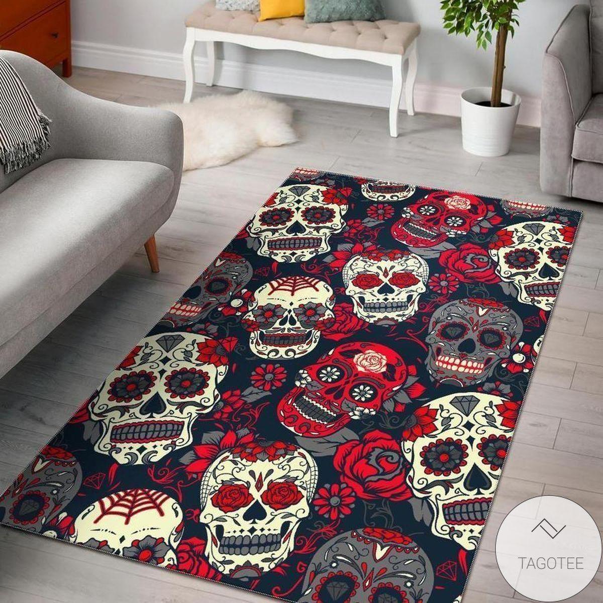 Great artwork! White Red Sugar Skull Area Rug