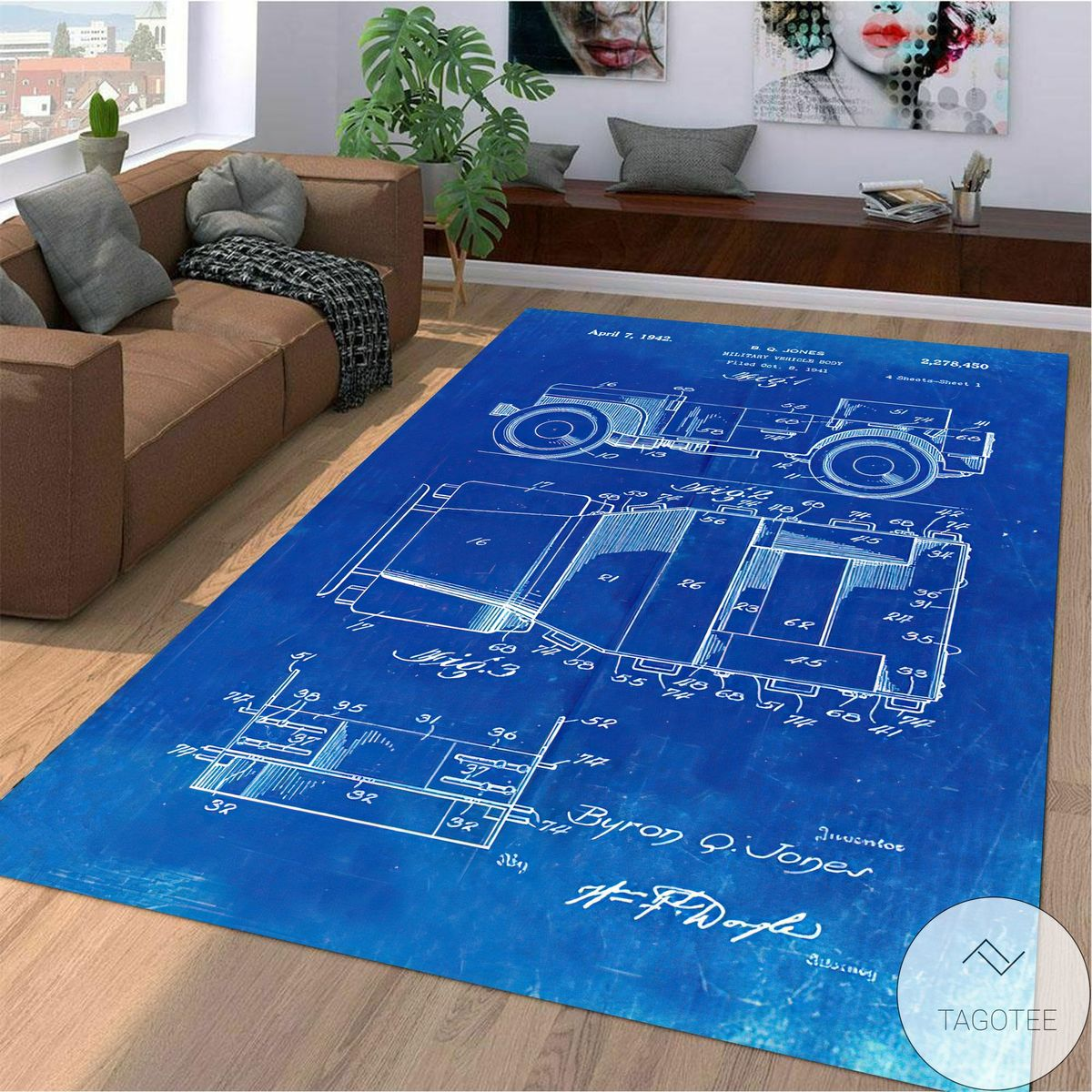 Father's Day Gift Willy's Jeep Patent Blueprint Area Rug