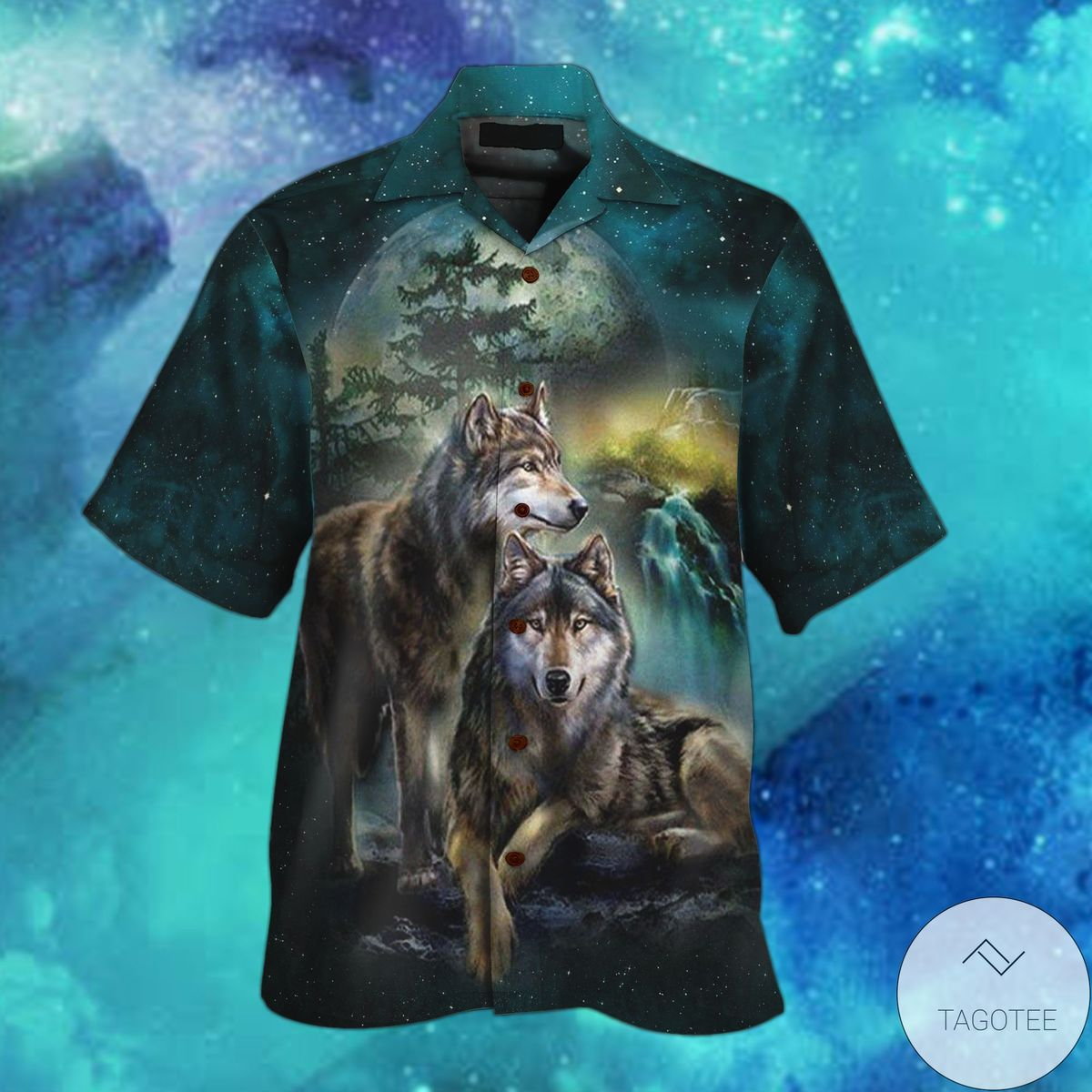 Wolf Beautiful Night Hawaiian Shirt