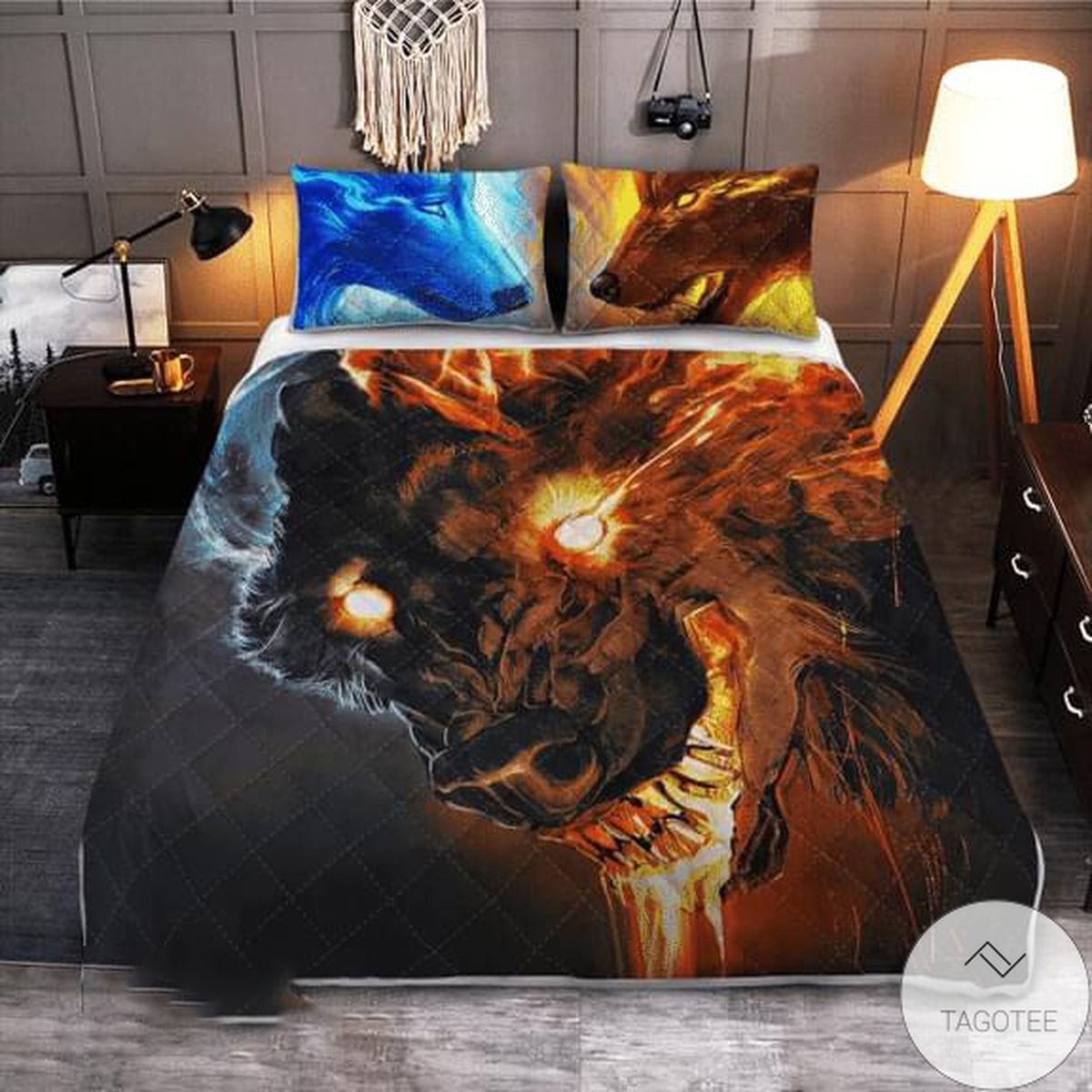 Wolf Fire And Ice Quilt Bedding Set
