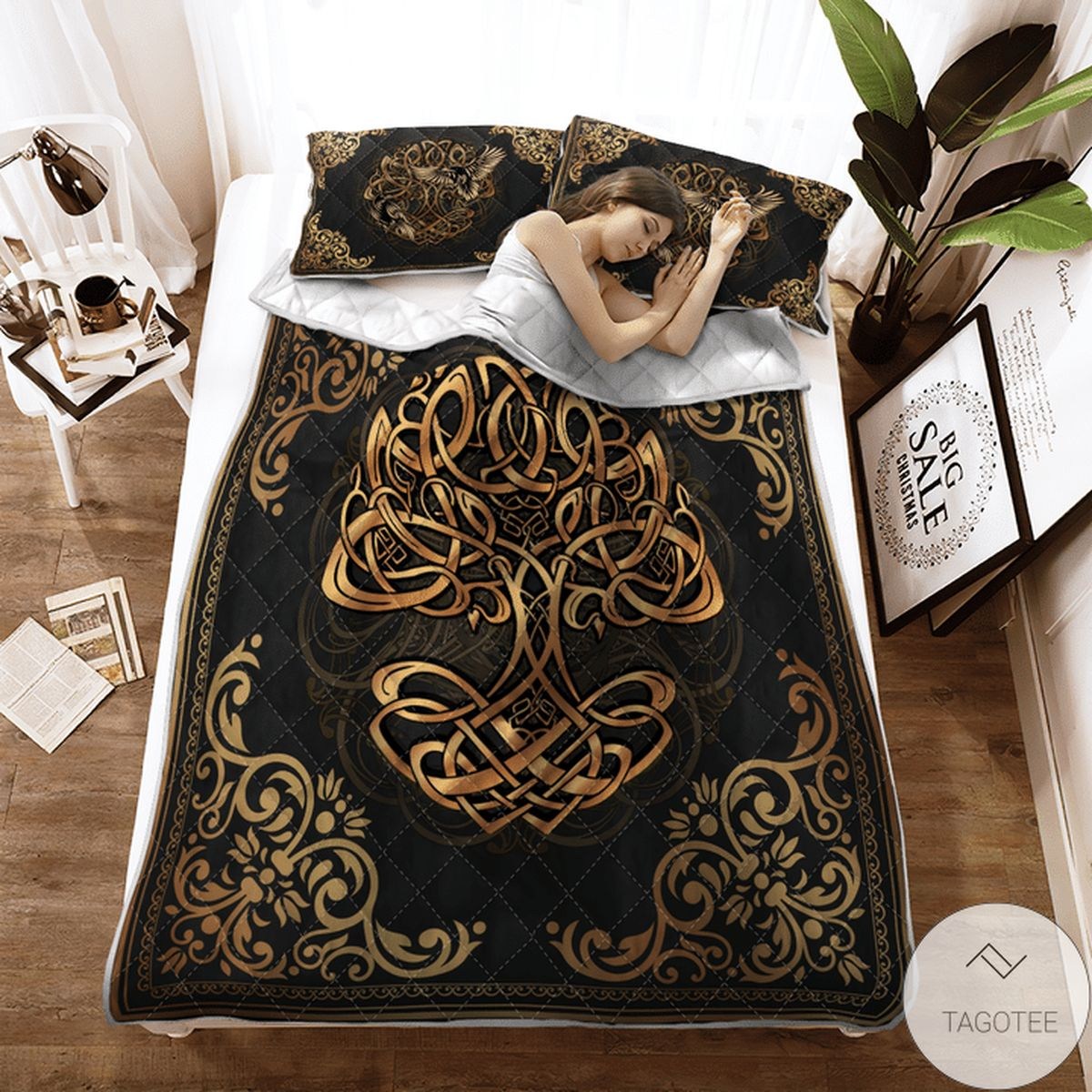 Yggdrasil - Odin's Ravens Huginn And Muninn- Viking Quilt Bedding Set x