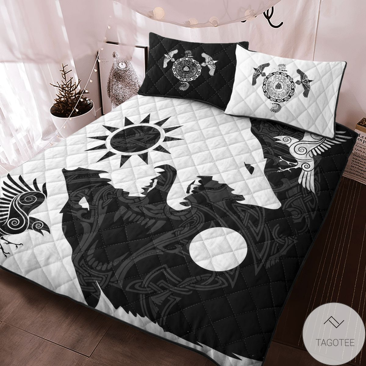 Absolutely Love Yin Yang Wolf And Raven Viking Quilt Bedding Set