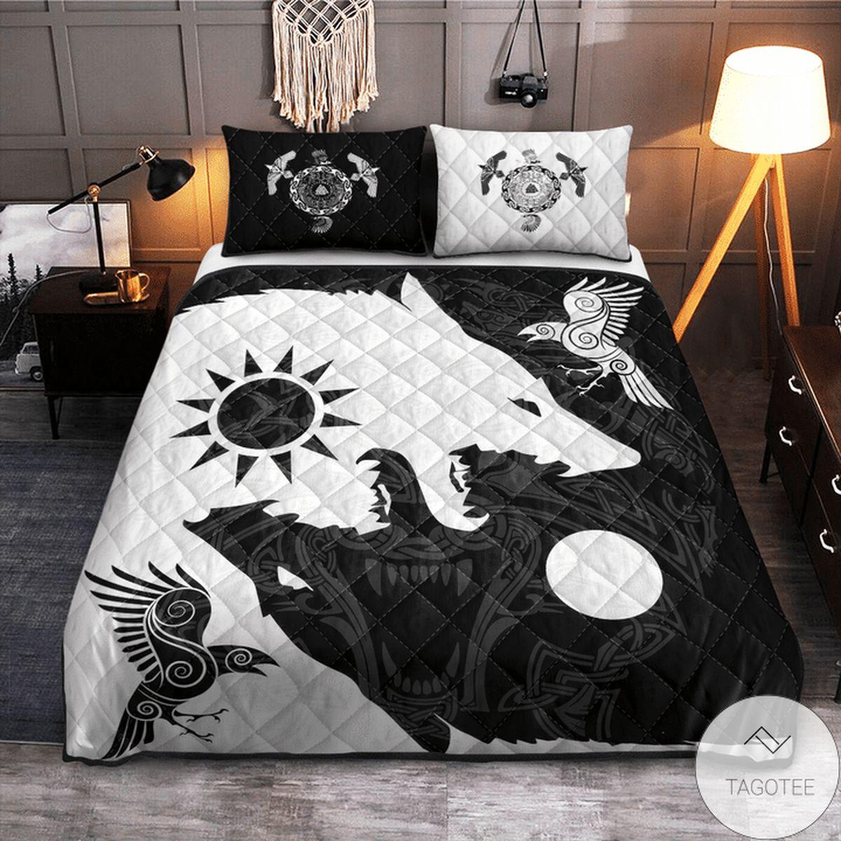Yin Yang Wolf And Raven Viking Quilt Bedding Set